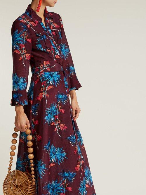 Hewes Print Cotton And Silk Blend Wrap Dress by Diane Von Furstenberg
