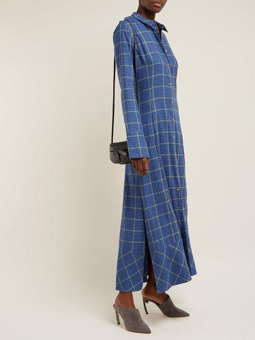 Daniella Checked Cotton Blend Shirtdress by Khaite