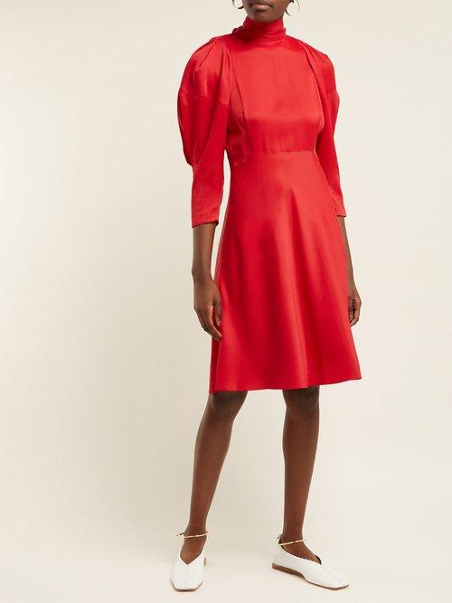 Marina Puffed Sleeve High Neck Crepe Dress by Khaite