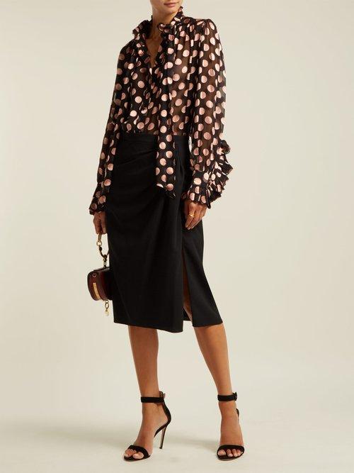 Silk-blend polka-dot blouse by Zimmermann