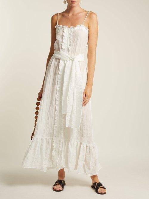 Ruffle Trimmed Seersucker Dress by Lisa Marie Fernandez