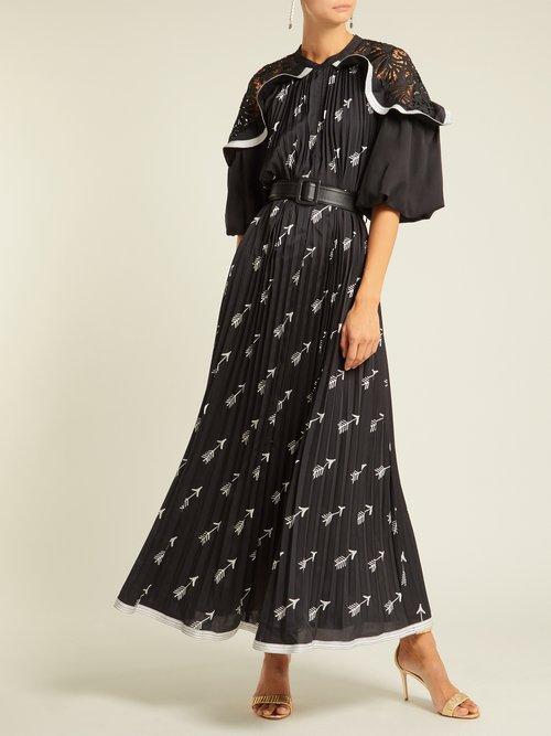 Arrow Print Pleated Crepe Midi Dress by Self-Portrait