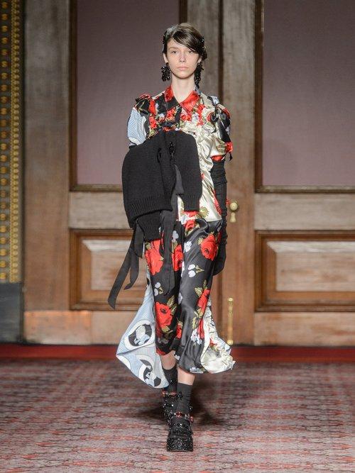 Patchwork Ruffled Silk Crepe De Chine Shirtdress by Simone Rocha