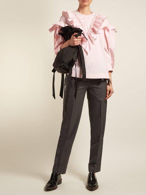 Ruffled-trim cotton blouse by Simone Rocha
