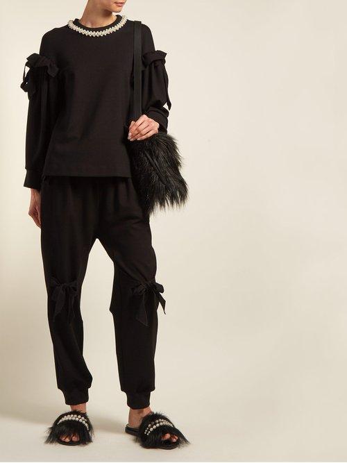 Faux Pearl Embellishment Jersey Sweatshirt by Simone Rocha