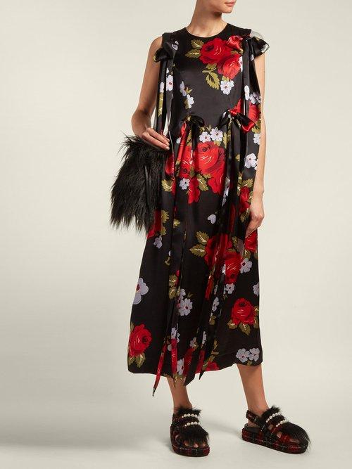 Bow Trim Floral Print Silk Satin Dress by Simone Rocha