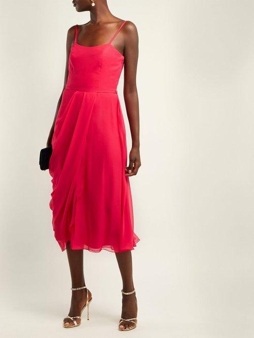Draped Silk Chiffon Midi Dress by Carolina Herrera
