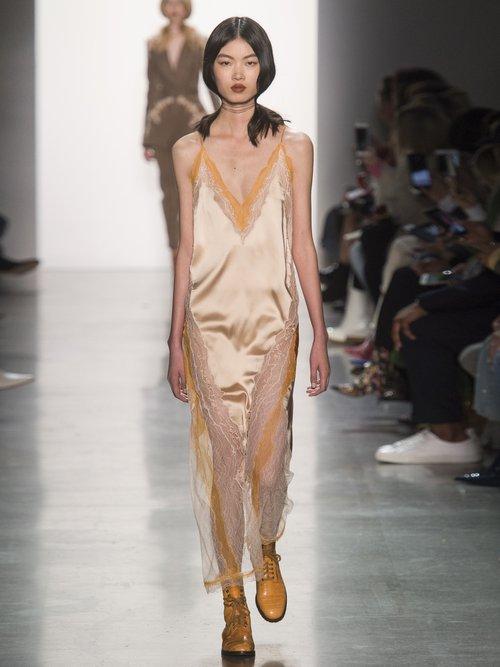 Lace Trimmed Satin Dress by Jonathan Simkhai
