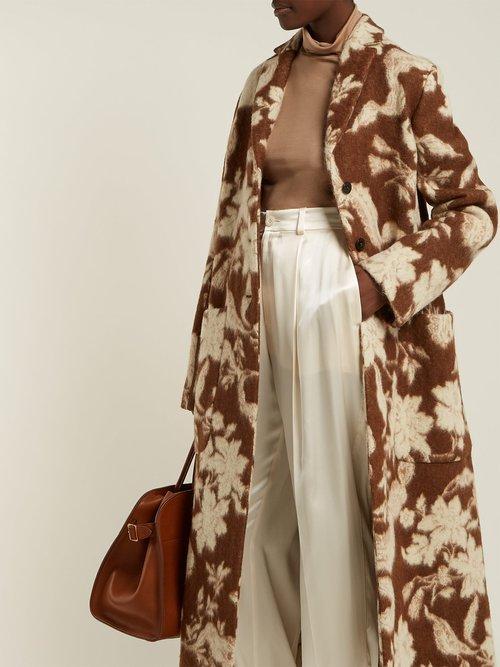 Fullerton Floral Wool And Alpaca Blend Coat by Jil Sander