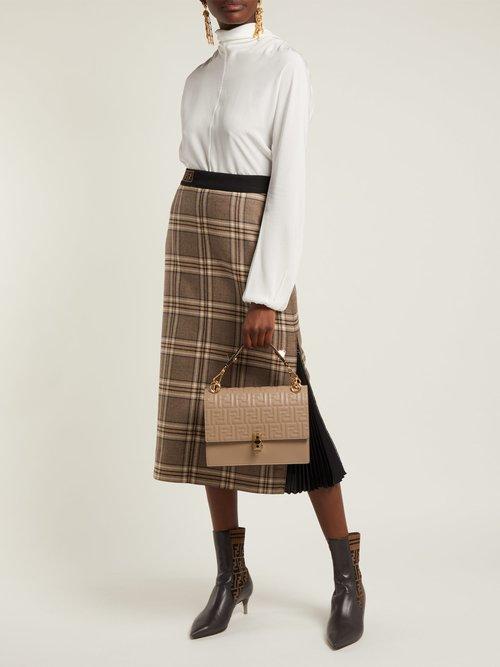 Kan I logo-embossed leather shoulder bag by Fendi