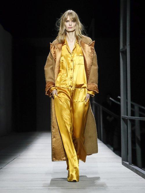 Contrast Panel Tie Waist Wool Coat by Bottega Veneta
