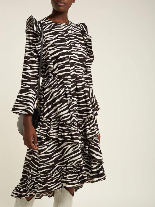 Faulkner zebra-print cotton midi dress by Ganni