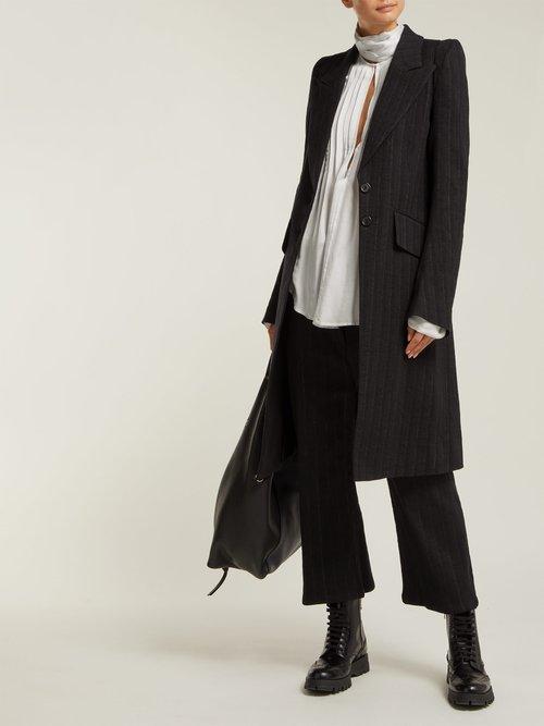 Algernon Pinstriped Linen Blend Coat by Ann Demeulemeester