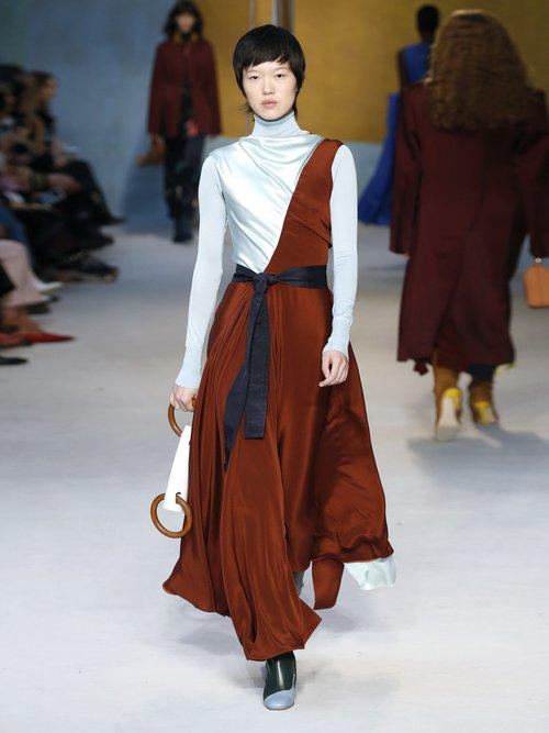 Eliana Draped Silk Midi Dress by Roksanda