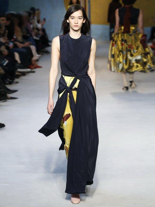 Sorka Knotted Contrast Panel Silk Dress by Roksanda