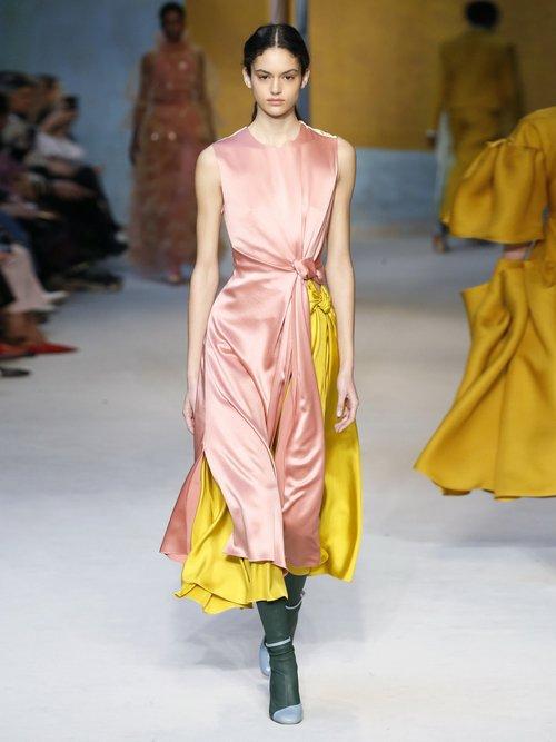 Nyimi Knotted Silk Satin Midi Dress by Roksanda