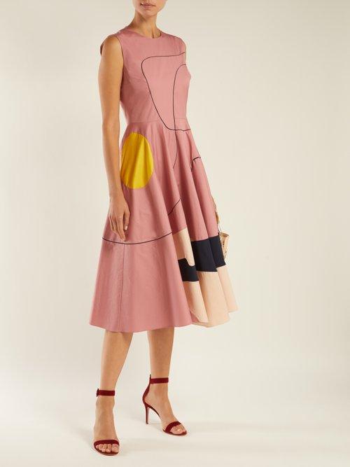 Tasia abstract-print cotton-blend midi dress by Roksanda