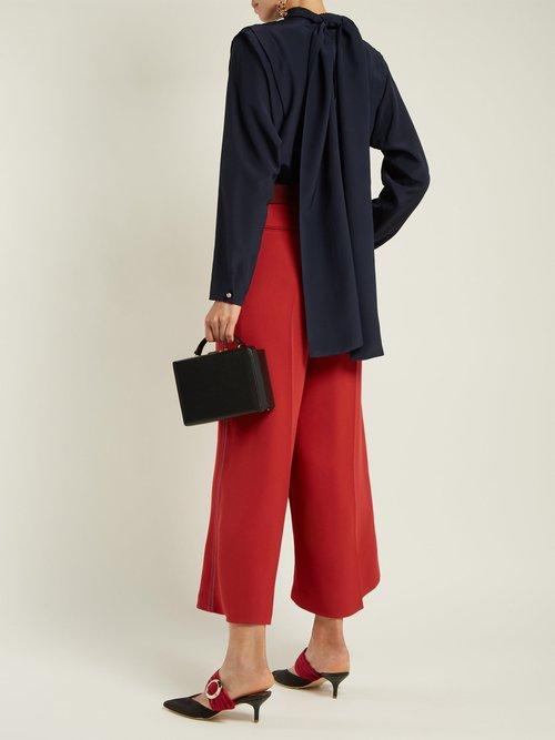 Aulna silk-satin tie-neck blouse by Roksanda