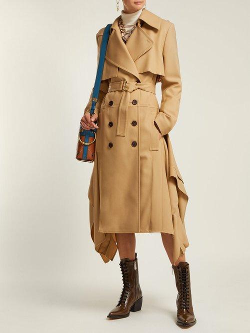 Pleated Hem Wool Gabardine Trench Coat by
