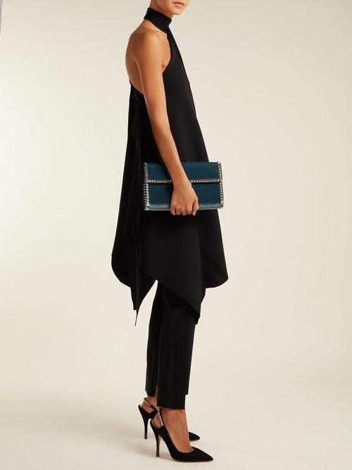 Crystal Embellished Suede Slingback Heels by Valentino