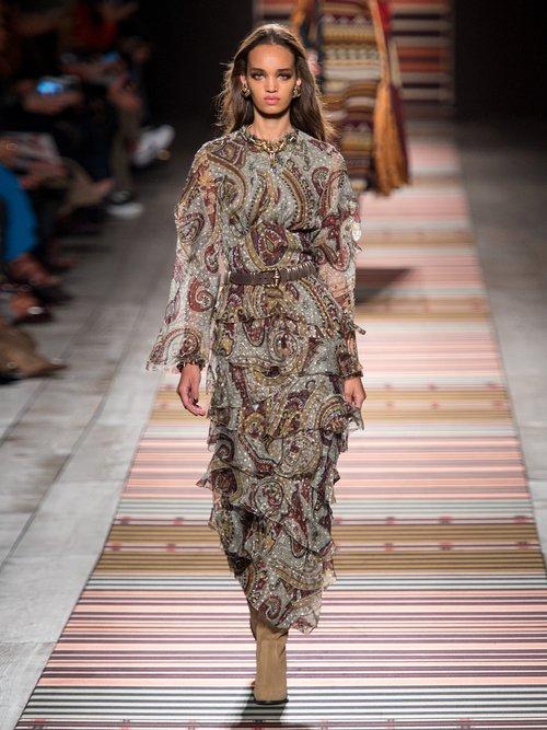Vega Tiered Silk Blend Dress by Etro