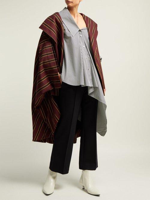 Jasmin Off The Shoulder Striped Cotton Shirt by Palmer/harding
