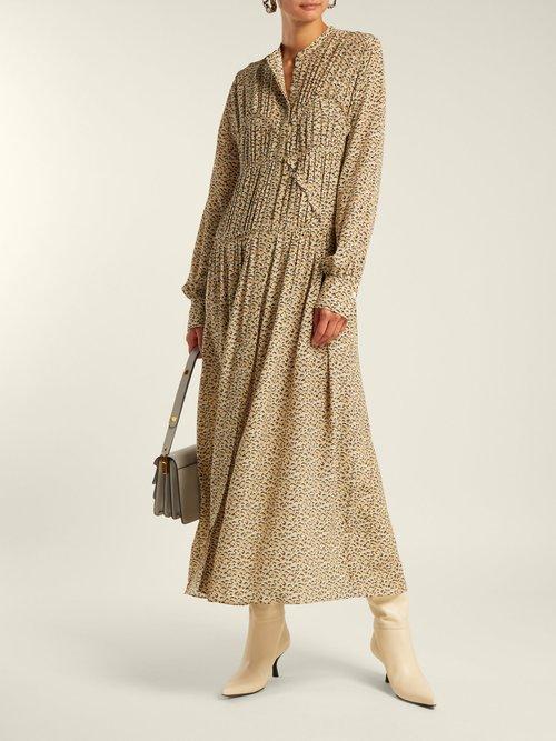 Jamie Fossil Print Silk Dress by Joseph
