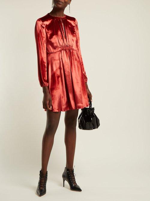 Smocked Velvet Mini Dress by Redvalentino