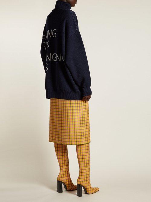 Block Heel Checked Wool Boots by Balenciaga
