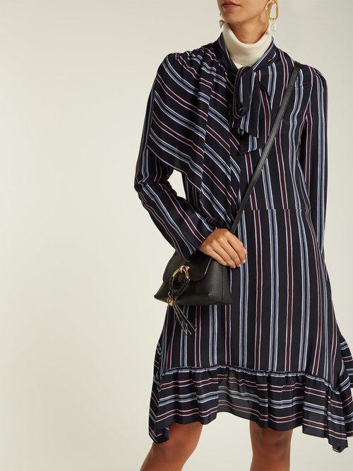 Striped asymmetric silk mini dress by