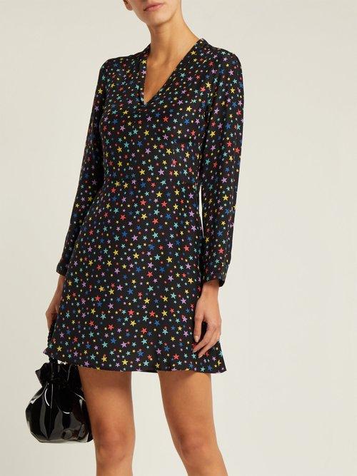 Lou Rainbow Star Print Silk Dress by Hvn