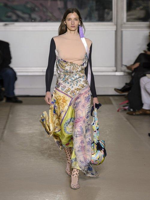 Scarf Print Cowl Back Handkerchief Hem Dress by Marine Serre