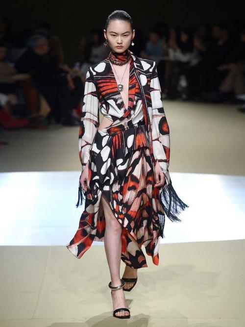 Butterfly Print Tassel Trim Silk Midi Dress by Alexander Mcqueen