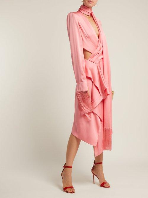Fringe Trimmed Silk Satin Midi Dress by Alexander Mcqueen