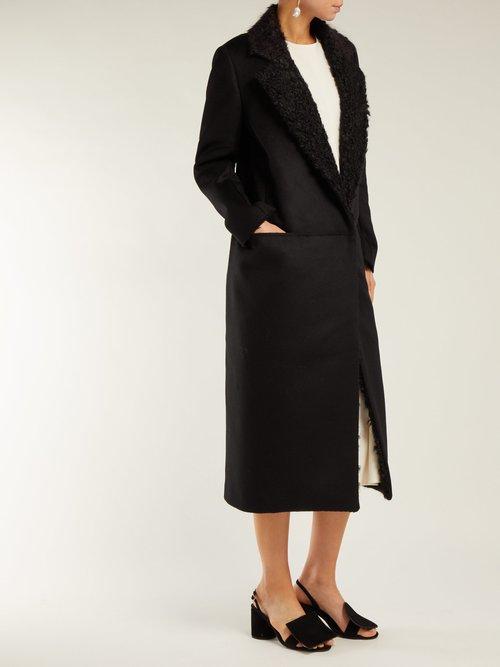 Faux Shearling Lapel Felt Coat by Maison Rabih Kayrouz