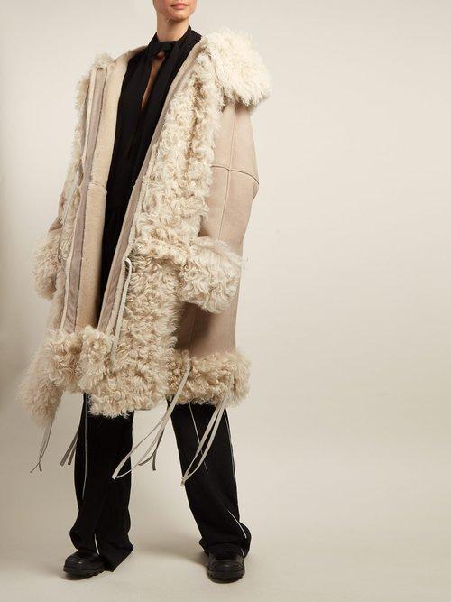 Tie Front Hooded Shearling Coat by Loewe