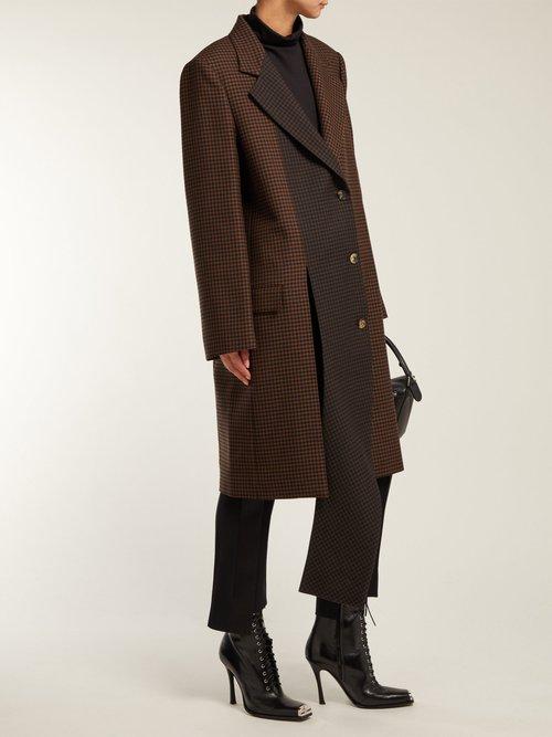 Asymmetric Houndstooth Wool Coat by Loewe