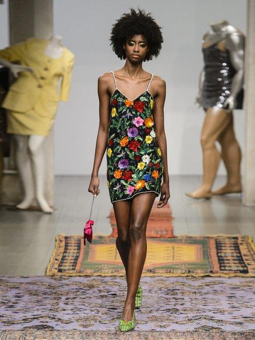 Magic Flower embellished silk-georgette mini dress by Ashish