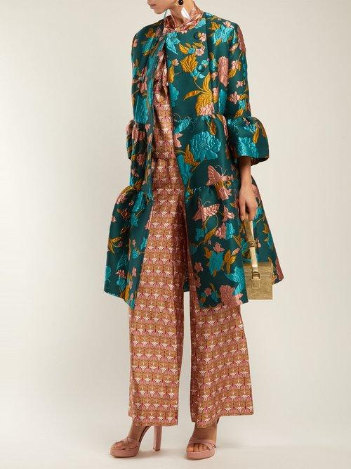 Bouncy Lilium Verde Floral Brocade Coat by La Doublej