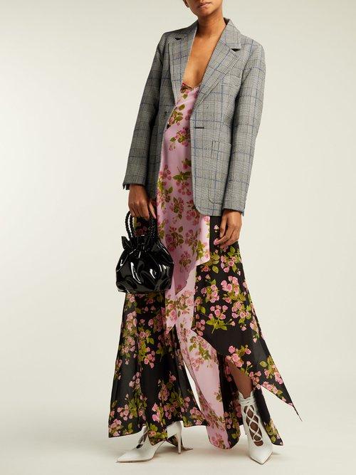 Floral Houndstooth Asymmetric Slip Dress by Natasha Zinko