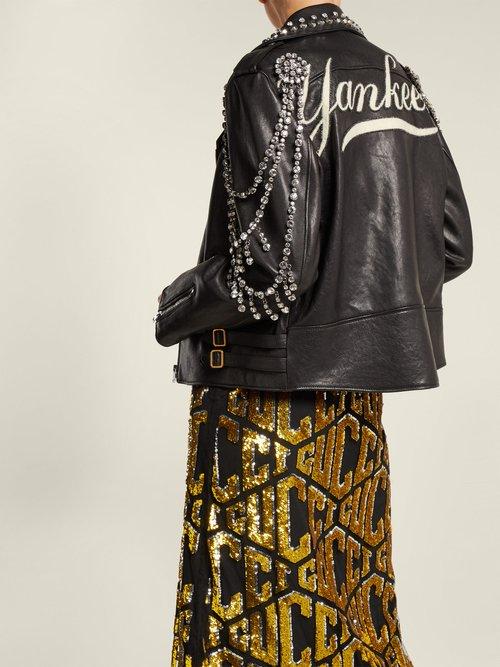 Yankees Crystal Embellished Leather Biker Jacket by Gucci