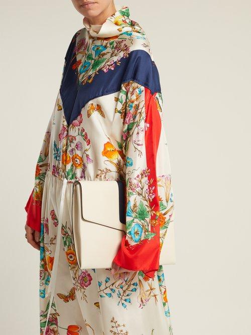 Floral Print Tie Waist Silk Dress by Gucci