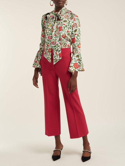 Happy Wrist Dragonflower-print silk blouse by La Double J
