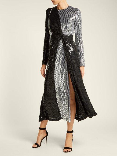 Pinwheel sequinned silk dress by Galvan