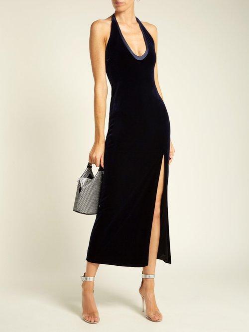 Ellipse scoop-neck velvet dress by Galvan