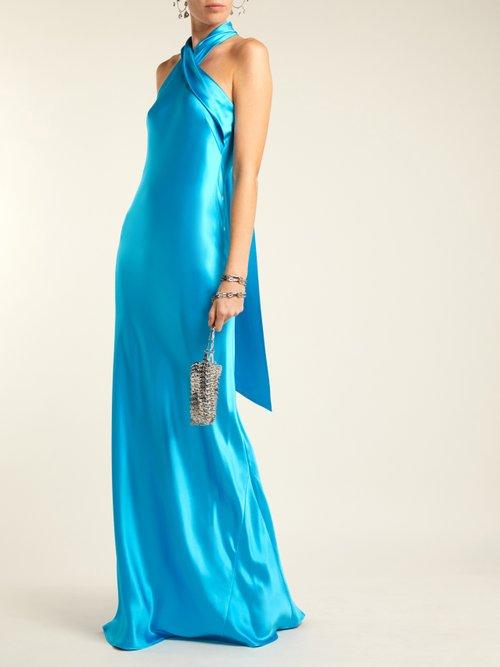 Pandora Silk Satin Halterneck Gown by Galvan