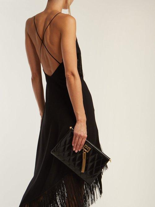 Fringed Asymmetric Hem Wool Crepe Dress by Givenchy