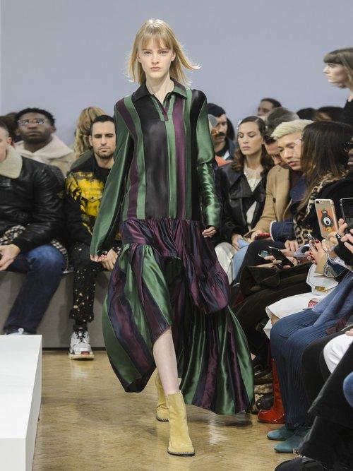 Striped asymmetric-panel silk dress by Jw Anderson