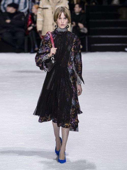 Photo of Balenciaga Contrast Panel Silk Dress, shop Balenciaga dresses online sale