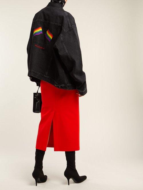 Rainbow Flag Embroidered Denim Jacket by Balenciaga